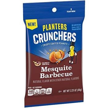 Planters Crunchers, Crispy Coated Peanuts, Mesquite Barbecue, 2.25 Oz Bag (1 Count)