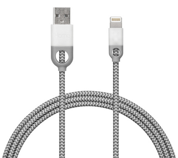 iHome. IH-CT1058W, Lightning Cable, 10ft Nylon Charge & Sync Cable, Dual Strain Relief Protection, White Color (1 Count)