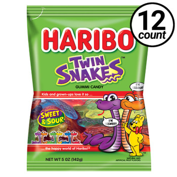 Haribo Gummi Candy, Twin Snakes, 5.0 oz. Bag (12 Count)