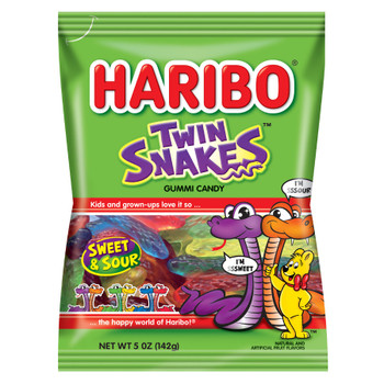 Haribo Gummi Candy, Twin Snakes, 5.0 oz. Bag (1 Count)