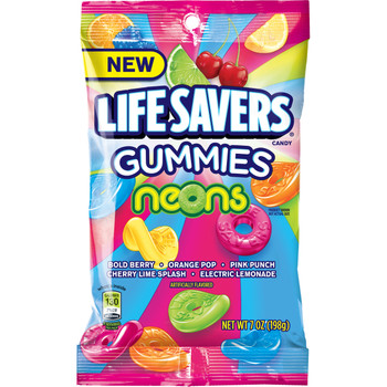 Life Savers Gummies, Neons Peg Bag, 7 oz (1 count)