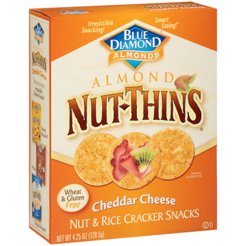 Blue Diamond, Almond Nut-Thins, Nut & Rice Crackers, Cheddar Cheese, 4.25 oz. Box (1 Count)
