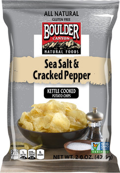 Boulder Canyon Natural Foods, Sea Salt & Cracked Pepper Kettle Cooked Potato Chips, 2.0 oz. Bag (1 Count)