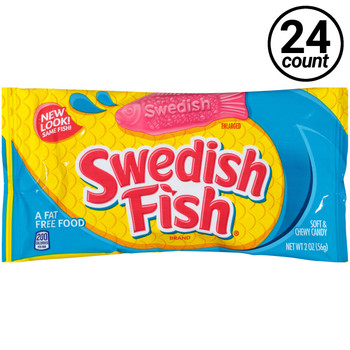 Cadbury Adams, Swedish Fish, Soft and Chewy Candy, Red, 2.0 oz. Bag (24 Count)