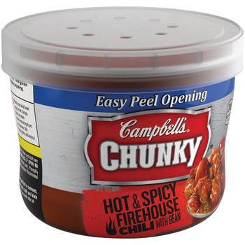 Campbell's, Chunky Chili, Firehouse Hot & Spicy Beef & Bean, 15.25 oz. Microwavable Bowl (1 Count)