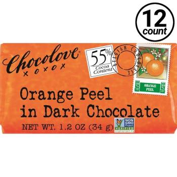 Chocolove Mini, Orange Peel in Dark Chocolate, 1.3 oz. (12 Count)
