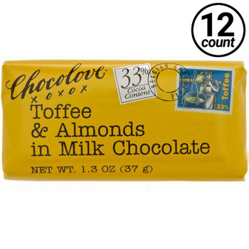 Chocolove Mini, Toffee and Almonds in Milk Chocolate, 1.3 oz. (12 Count)