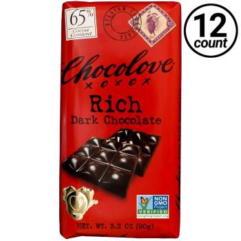 Chocolove, Rich Dark Chocolate 65% Cocoa, 3.2 oz. Bars (12 Count)