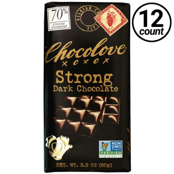 Chocolove, Strong Dark Chocolate 70% Cocoa, 3.2 oz. Bars (12 Count)