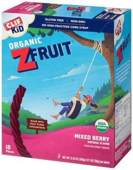CLIF kid Z-Fruit Rope, Mixed Berry, 0.7 oz. Ropes (18 Count)