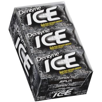 Dentyne Ice, Arctic Chill Sugar Free Gum, 16 Piece Packs (9 Count)