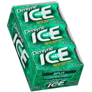 Dentyne Ice, Spearmint Sugar Free Gum, 16 Piece Packs (9 Count)