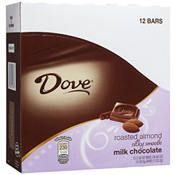 Dove, Silky Smooth Roasted Almond Milk Chocolate, 3.3 oz. Bars (12 Count)