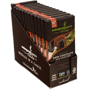 Endangered Species Chocolate All-Natural, Bat, Intense Dark Chocolate with Cacao Nibs, 3 oz. Bars (12 Count)