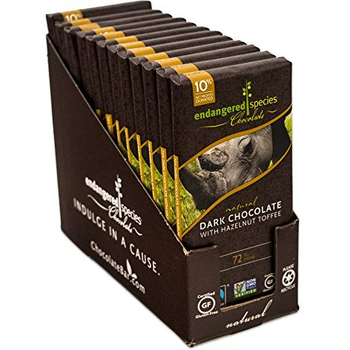 Endangered Species Chocolate All-Natural, Black Rhino, Dark Chocolate with Hazelnut Toffee, 3 oz. Bars (12 Count)