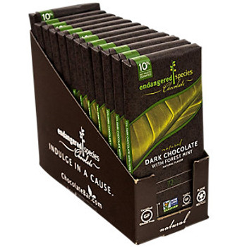 Endangered Species Chocolate All-Natural, Rain Forest, Dark Chocolate with Deep Forest Mint, 3.0 oz. Bar (12 Count)