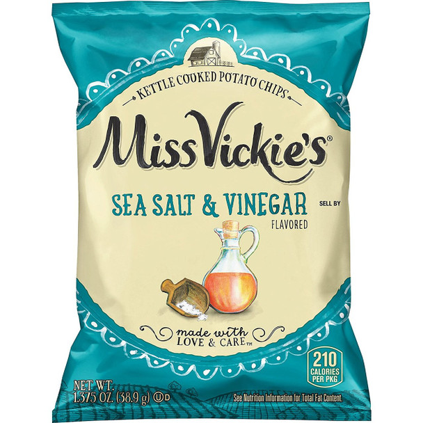 Miss Vickie's, Sea Salt & Vinegar Kettle Cooked Potato Chips, 1.375 oz. Bag (1 Count)