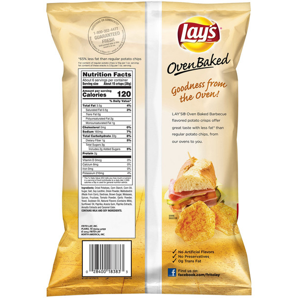 Lay's, Oven Baked, Barbecue, 1.125 oz. Bag (1 Count)
