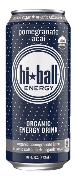 Hi Ball Organic Energy Drink, Pomegranate Acai, 16 oz (Pack of 12)