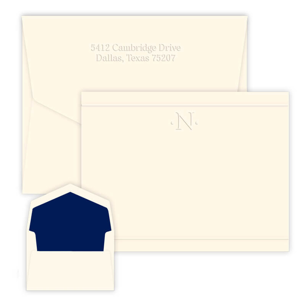 personalized embossed stationery one initial card eg8010 - Personalized Embossed Note Cards