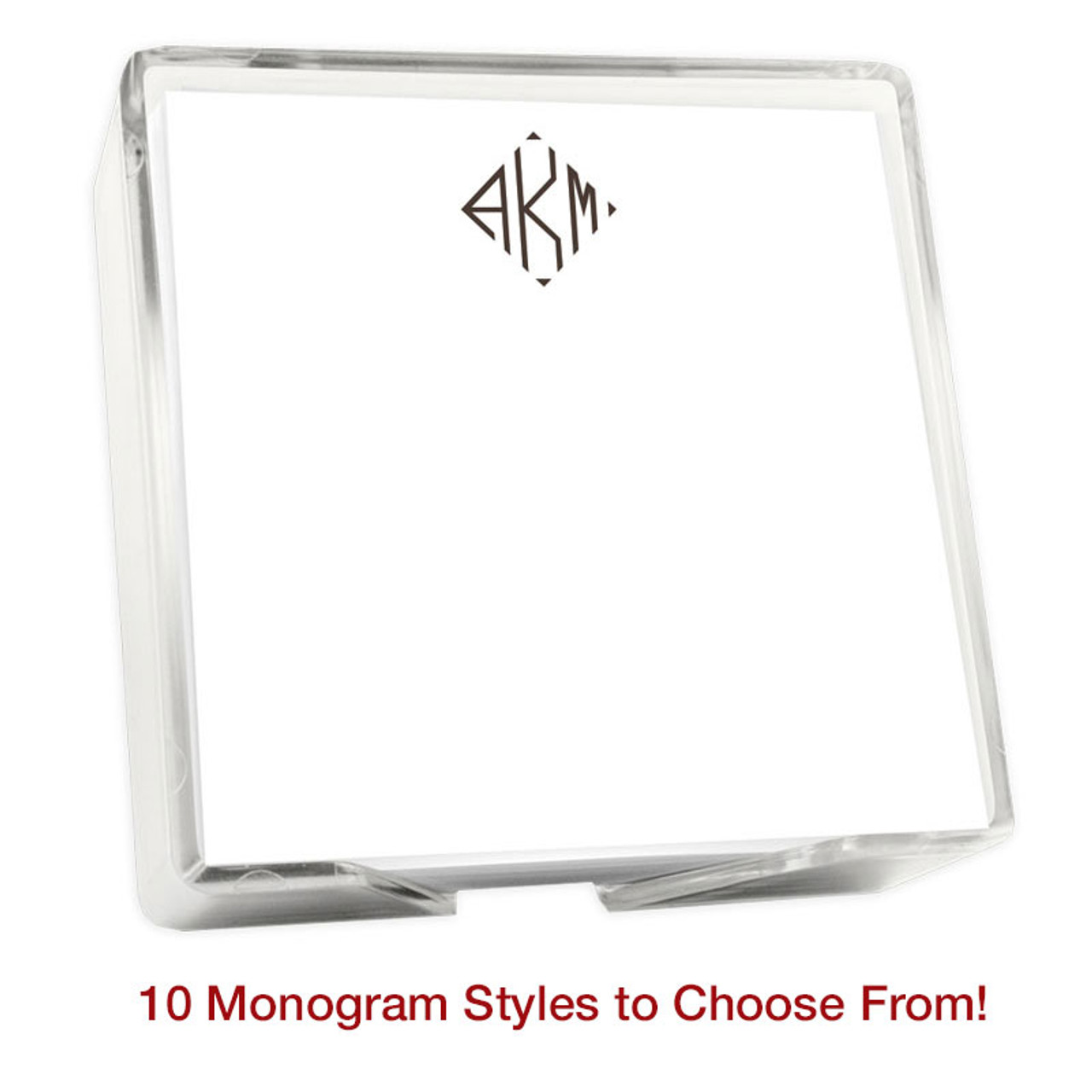 "Del Mar Monogram Memo Square Notepads with Holder - 275 Sheets - 5"" x 5"""
