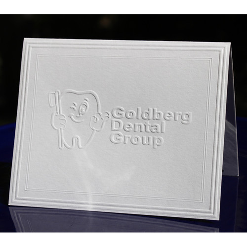 custom embossed stationery fold notes with modern frame border - Custom Folded Note Cards