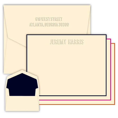 Monte Embossed Flat Cards - Optional Border - Multiple Fonts - Embossed Stationery - FREE SHIPPING (EG2350)