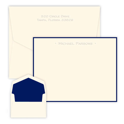 personalized embossed note cards one line with dots eg2015 - Embossed Note Cards