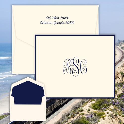 Del Mar Monogram Fold Notes - Raised Ink Stationery - Optional Border - Made In The USA (EG3411)