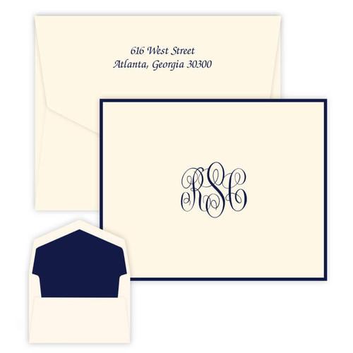 Del Mar Monogrammed Fold Notes - Raised Ink Stationery - Optional Border - 50/Set (EG3411) (Font Style L123 with black ink shown here)