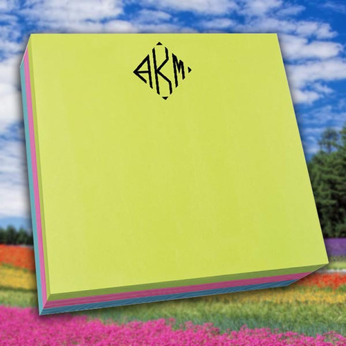 "Del Mar Colorful Monogram Desk Notepad - 250 Sheets (6"" x 6"") (EG7078)"