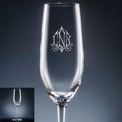 Aroma Monogram Champagne Flute - Personalized Drinkware - 10 Font Styles (EG9401)