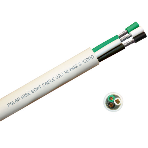 BOAT CABLE ROUND 12/3 BLACK/WHITE/GREEN 100FT