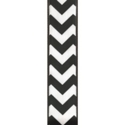 Wired Edge Black Chevron Ribbon