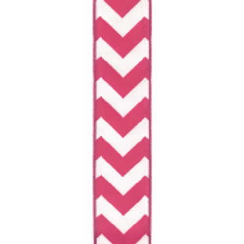 Wired Edge Shocking Pink Chevron Ribbon