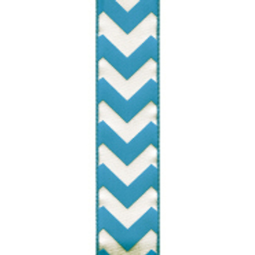 Wired Edge Turquoise Chevron Ribbon