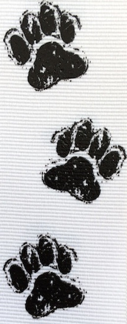 White / Black Doggie Feet Ribbon