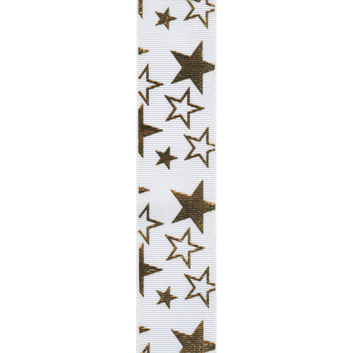 White / Gold Printed Star Ribbon