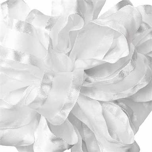 White double ruffle narrow satin