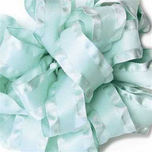 Aqua double ruffle narrow satin