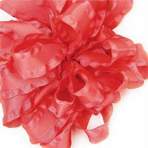 Coral double ruffle narrow satin