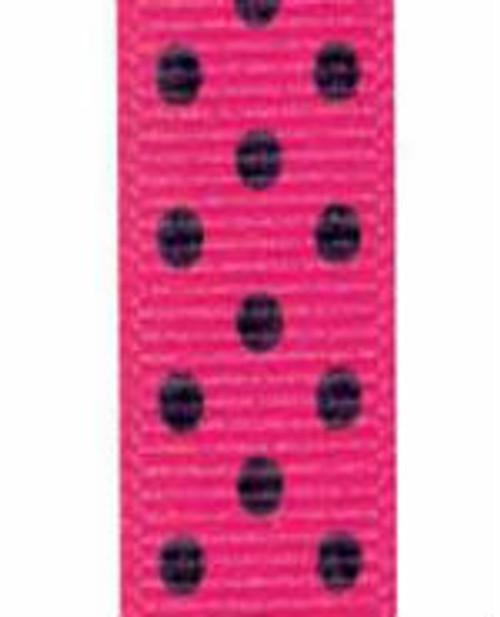 Shocking Pink / Black Grosgrain Confetti Dots