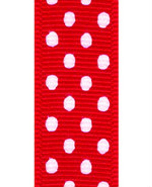Red / White Grosgrain Confetti Dots