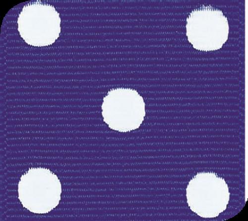 Electric Blue / White Grosgrain Polka Dots
