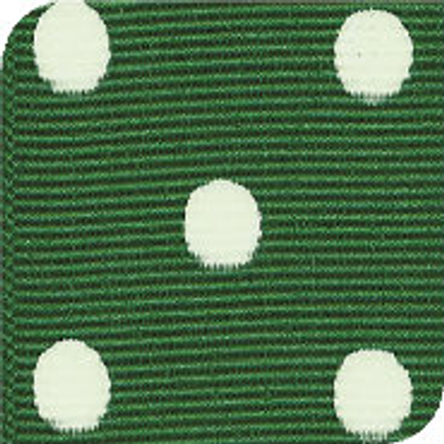 Emerald / White Grosgrain Polka Dots
