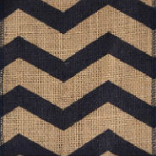 Navy Chevron Burlap Ribbon