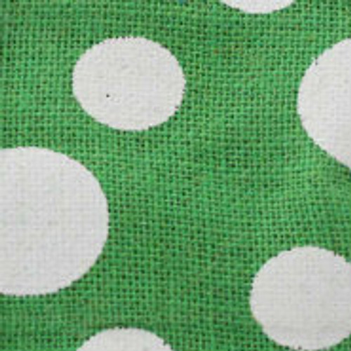 Green Wired Edge Burlap Dots