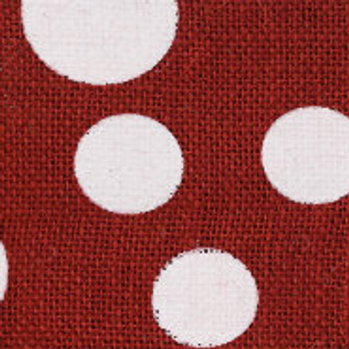 Burgundy Wired Edge Burlap Dots
