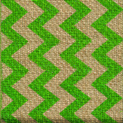 Green Burlap Zag Striped Ribbon