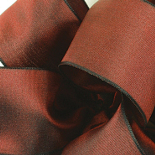 Burgundy Wired Woven Ribbon